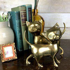 Vintage Brass Smiling Kitty Cat Pair MidMod Decor